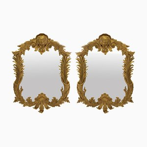 Vintage George III Style Gilded Wood Mirrors, 1950s, Set of 2