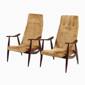 High-Back Easy Chairs by Louis van Teeffelen for WéBé, 1950s, Set of 2