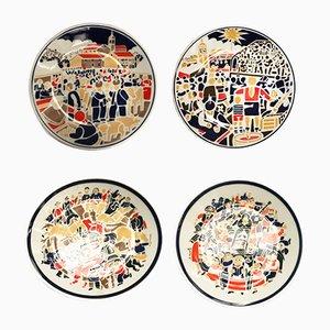 Piatti in porcellana di Xaquin Marin per Sargadelos, anni '90, set di 4