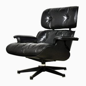 Vintage Black Leather Lounge Chair by Charles & Ray Eames for Herman Miller