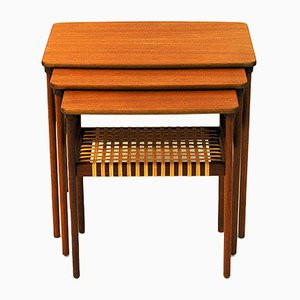 Mesas nido modelo 15 de teca de Erling Torvits para Heltborg Møbler, años 60. Juego de 3