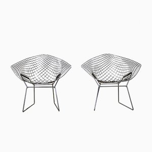 Vintage Diamond Lounge Chairs by Harry Bertoia for Knoll Inc./Knoll International, Set of 2