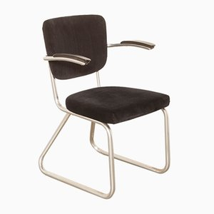 Chromed Tube and Black Corduroy Side Chair by Paul Schuitema for D3 Rotterdam, 1950s