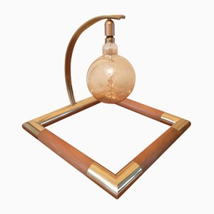 Lámpara de mesa grande de latón y madera, años 70