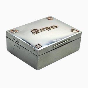Antike silberne Patience Box mit goldenen Details von Goldsmiths & Silversmiths für Goldsmiths & Silversmiths, 1906