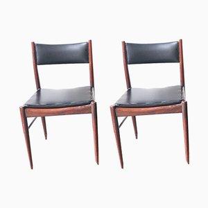 Esszimmerstühle aus Palisander mit schwarzem Sitz von Gessef, 1960er, 2er Set