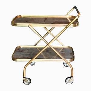 Mid-Century Gold and Marble Trolley