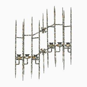 Große Mid-Century Kerzenhalter aus Schmiedeeisen, 2er Set