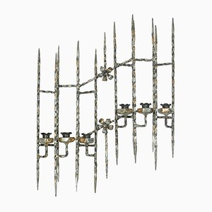 Large Mid-Century Wrought Iron Candleholders