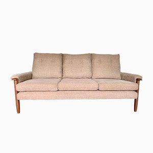 Sofá de tres plazas vintage de teca, años 80