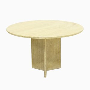 Round Travertine Dining Table from Up & Up, 1970s