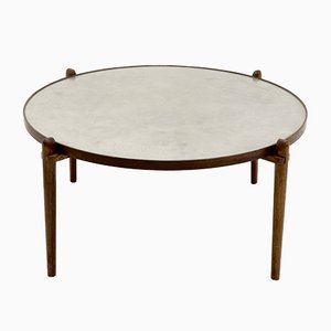Mid-Century Circular Rosewood and Etched Aluminum Coffee Table by Heinz Lilienthal, 1968