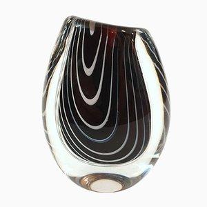 Schwarze Zebra Vase von Vicke Lindstrand für Kosta, 1950er