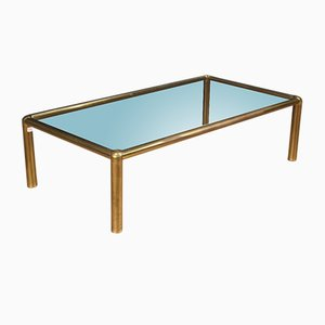 Italian Golden Brass Coffee Table, 1970s