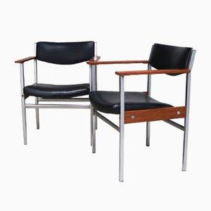 Belgische Bürostühle, 1960er, 2er Set