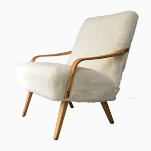 Vintage Art Deco White Sheepskin and Bentwood Armchair
