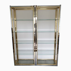 Vintage Hollywood Regency Style Chrome, Brass, and Glass Wall Unit by Renato Zevi, 1970s, Set of 2