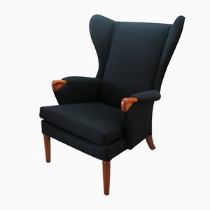 Teak Black Wingback Armchair from Parker Knoll, 1960s
