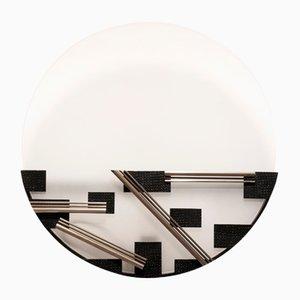 Aplique modernista de vidrio opalino y metal, años 50