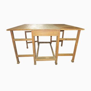Table de Travail Antique en Teck, 1920s