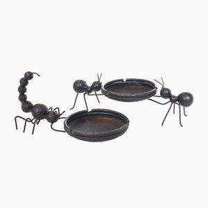 Schwarze Mid-Century Aschenbecher aus Metall von Bror Bonfils, 2er Set
