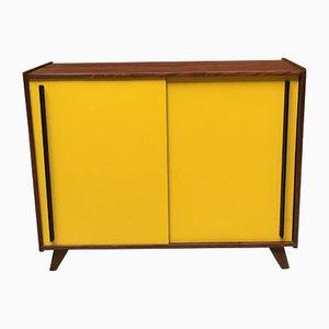 Italienisches Vintage Sideboard aus gelbem Resopal & schwarzem Holz, 1960er
