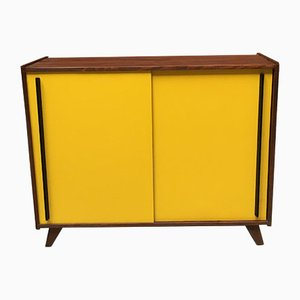 Vintage Italian Yellow Formica & Black Wood Sideboard, 1960s