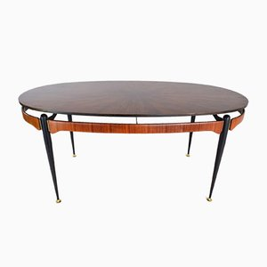 Mid-Century Italian Rosewood & Steel Oval Dining Table, 1950s