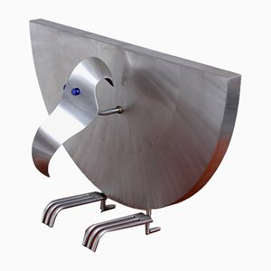 Stahl Bird Skulptur Skulptur Lampe von Reinhard Stubenrauch, 1990er