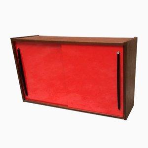 Italienisches Vintage Sideboard aus rotem Resopal & schwarzem Holz, 1960er