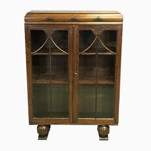 Art Deco Oak Showcase Cabinet, 1930s