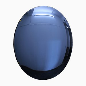 Blue Orbis Convex Frameless Mirror by Alguacil & Perkoff Ltd