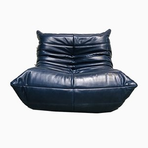 Mid-Century Blue Leather Togo Lounge Chair by Michel Ducaroy for Ligne Roset