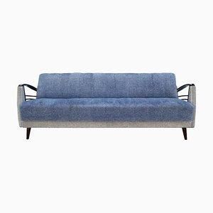 Sofá cama en azul y beige, años 50