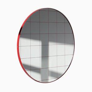 Kleiner runder Orbis Spiegel mit Gitter & rotem Rahmen von Alguacil & Perkoff Ltd