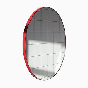 Runder Orbis Spiegel mit Gitter & rotem Rahmen von Alguacil & Perkoff Ltd