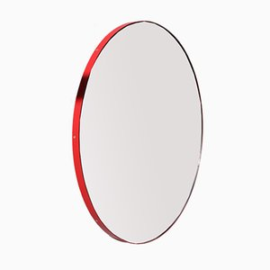 Orbis Round Mirror with Red Frame and Grid by Alguacil & Perkoff Ltd