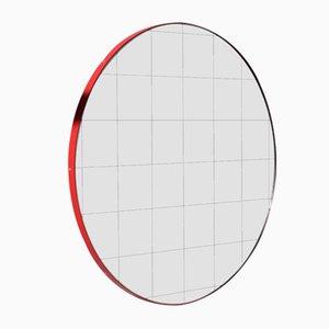 Specchio medio Orbis rotondo con cornice rossa e griglia di Alguacil & Perkoff Ltd