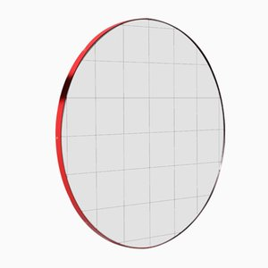 Mittelgroßer runder Orbis Spiegel mit Gitter & rotem Rahmen von Alguacil & Perkoff Ltd