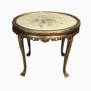 Mesa auxiliar vintage de madera dorada