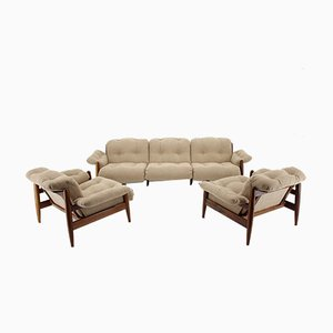 Mid-Century Rosewood Living Room Set, Set of 3