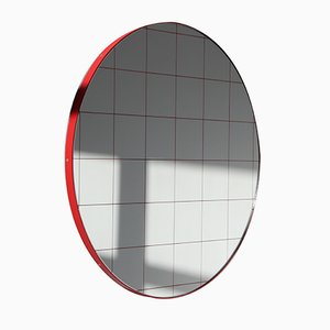 Large Red Orbis Round Mirror with Grid by Alguacil & Perkoff Ltd