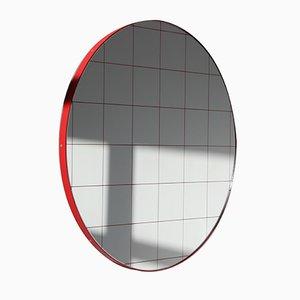 Großer runder Orbis Spiegel mit Gitter & rotem Rahmen von Alguacil & Perkoff Ltd
