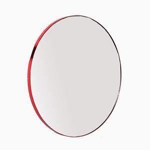 Specchio grande rotondo Orbis rosso con griglia di Alguacil & Perkoff Ltd