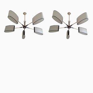 Lámparas de araña de cinco brazos de Maison Lunel, años 50. Juego de 2