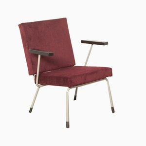 Dutch Model 1401 Burgundy Red Velvet Armchair by Wim Rietveld for Gispen, 1950s