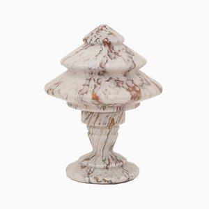 Art Déco Tischlampe aus marmoriertem Glas, 1930er
