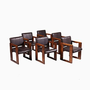 Vintage Leather Dining Chairs by Tobia & Afra Scarpa, 1970s, Set of 6
