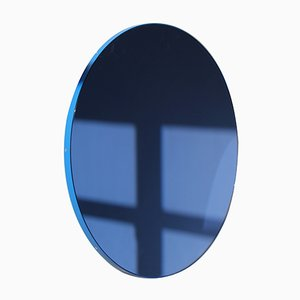 Small Blue Tinted Orbis Round Wall Mirror with Blue Frame by Alguacil & Perkoff Ltd