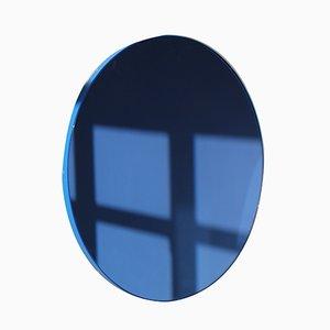 Großer runder blau getönter Orbis Spiegel mit blauem Rahmen von Alguacil & Perkoff Ltd